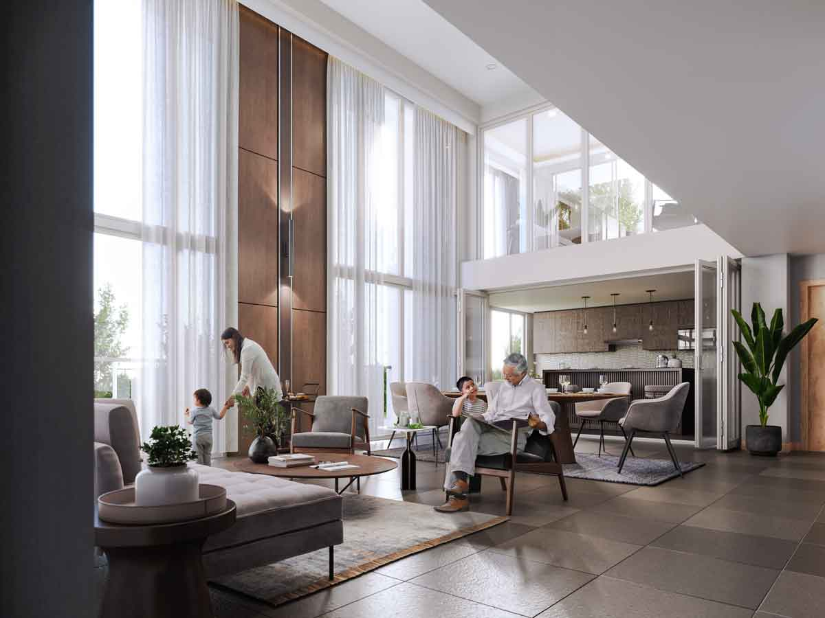 Artist's Perspective of Five-Bedroom Penthouse Living Room, Dining Room, and Kitchen